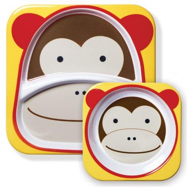 Skip Hop Zoo Jídelní miska a talířek 2v1 Opička