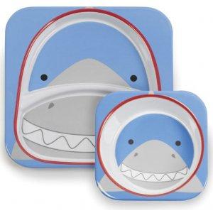 Skip Hop Zoo Jídelní set melaminový 6m+ Žralok