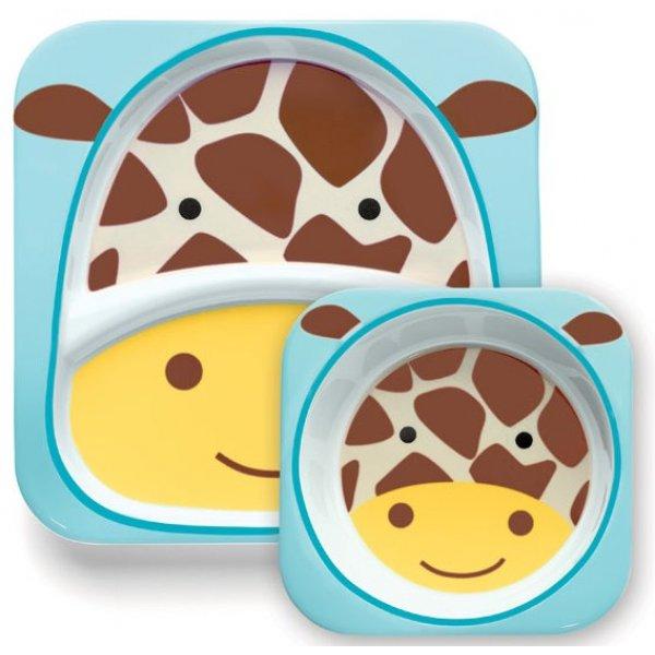 Skip Hop Zoo Jídelní miska a talířek 2v1 Žirafa