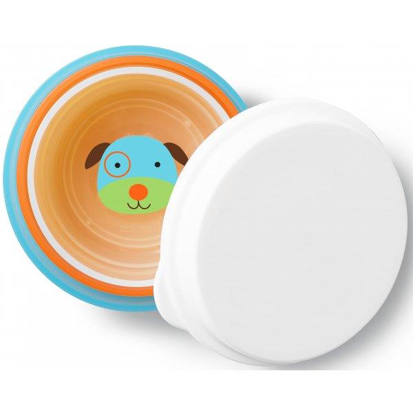 Skip Hop Zoo misky protiskluzové 3 kusy + víko - Pejsek 6m+ Oranžová