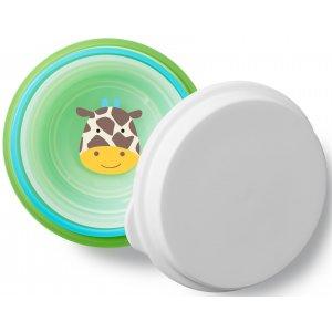Skip Hop Zoo misky protiskluzové 3 kusy + víko - Žirafa 6m+ Zelená
